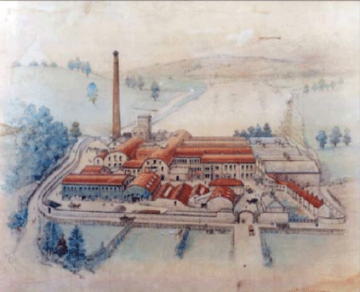 Circa 1900 painting by Muriel King-Smith, showing Golden Valley Mills, Bitton