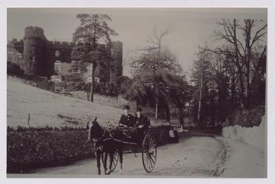 Willsbridge Hill, Willsbridge, showing pony & trap with 2 occupants, and Kyte House/Willsbridge Castle; photo courtesy Bristol Records Office