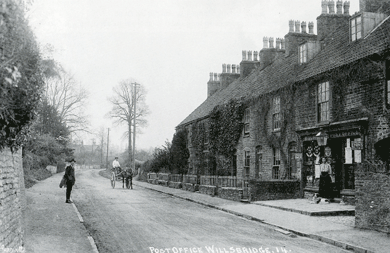 Willsbridge Post Office Brockham Terrace C. 1904; looking towards Bitton; showing Miss Dorothy Bence with dog; photo courtesy Paul Townsend