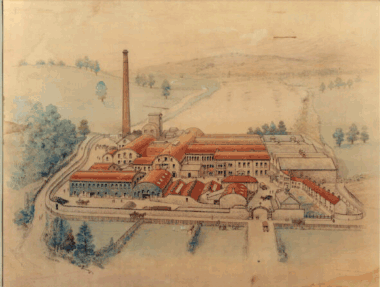 Watercolour, believed to have been painted by Muriel King-Smith in the mid 1900's, showing the mill at the height of paper production.