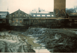 At the start of rebuilding in1977 the pond was halved in size and the part adjacent to the mill drained and the mud and sludge removed down to the clay. The depth of sludge is approx 5ft