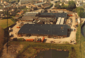 An aerial view from the rear of the site