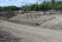April 2017  The site is being raised prior to building in order to alleviate flooding